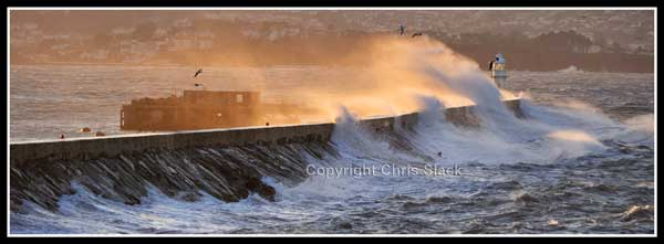 Breakwater Storm Sunset